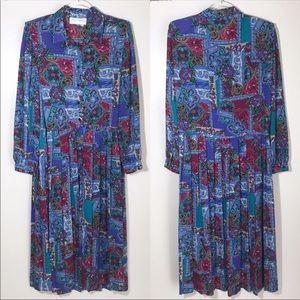 Schrader | Vintage Midi Patterned Pleated Dress